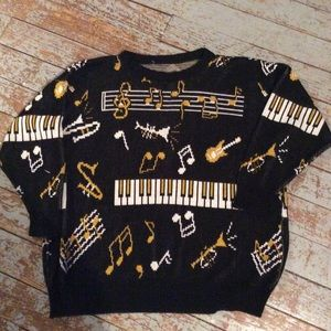 Other - Vintage music themed sweater